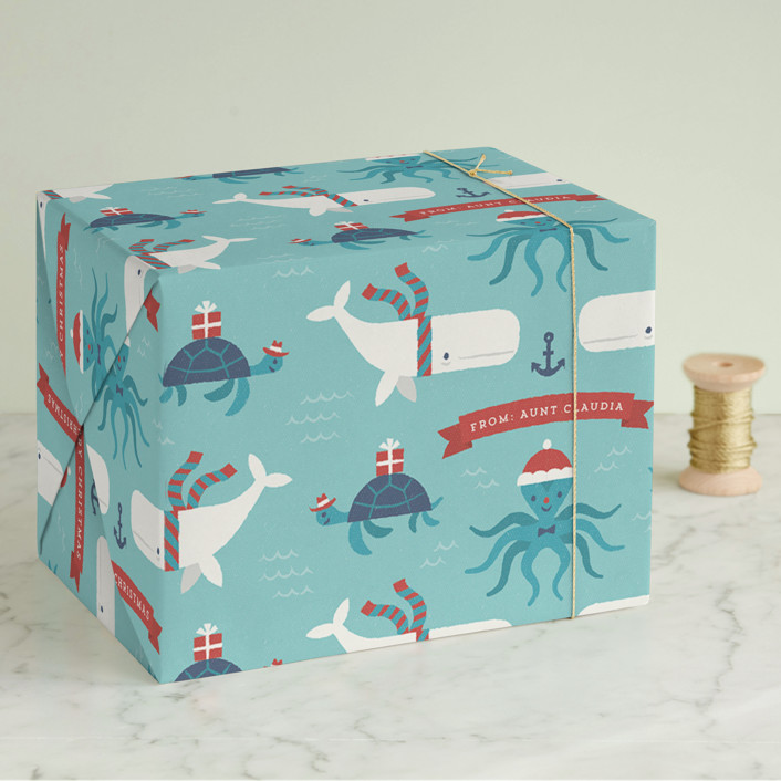 """Under The Sea Christmas"" - Wrapping Paper in Turquoise by Bob Daly."