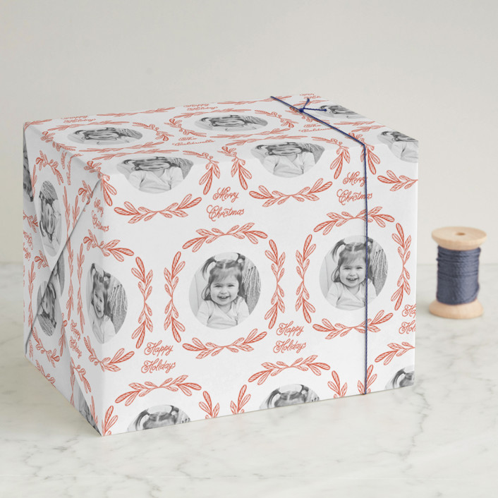"""""""Ornate Frame"""" - Wrapping Paper in Holly by Mansi."""