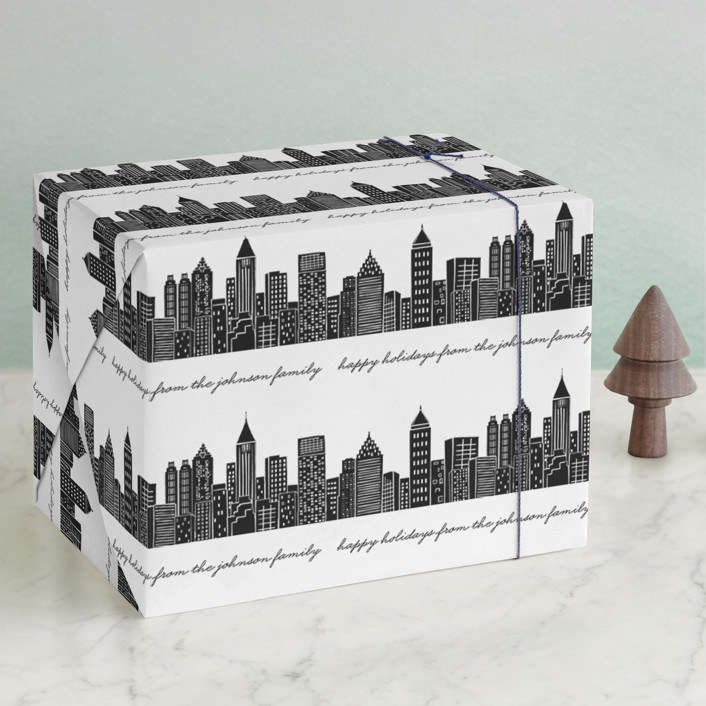 """""""Cityscape"""" - Wrapping Paper in Midnight by Hooray Creative."""
