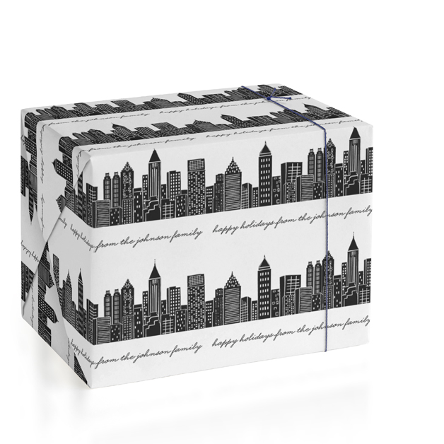 This is a black and white wrapping paper by Hooray Creative called Cityscape with standard printing on wrapping paper.