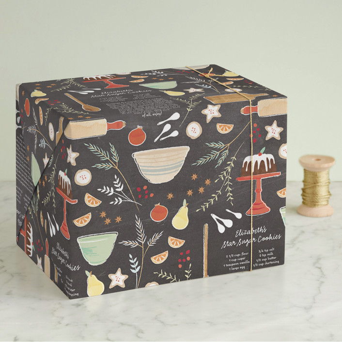 """Sugar & Spice"" - Whimsical & Funny Wrapping Paper in Chalkboard by Olivia Kanaley Inman."
