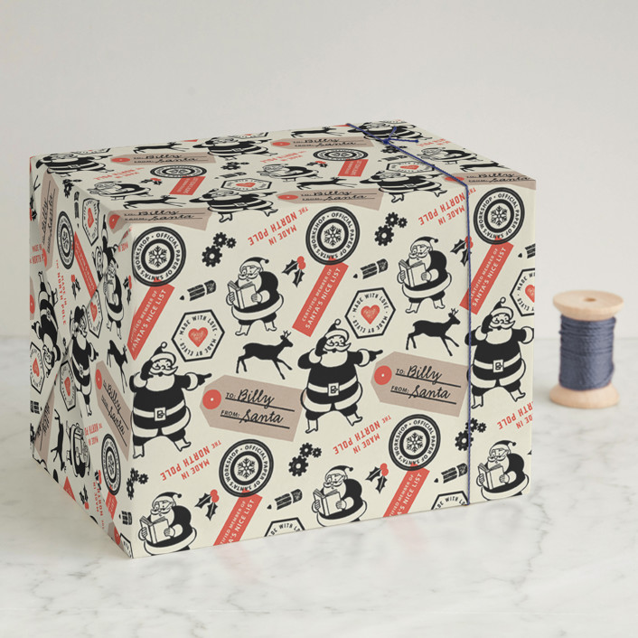 """""""Santa's Workshop Official"""" - Whimsical & Funny Wrapping Paper in Santa by Snow and Ivy."""
