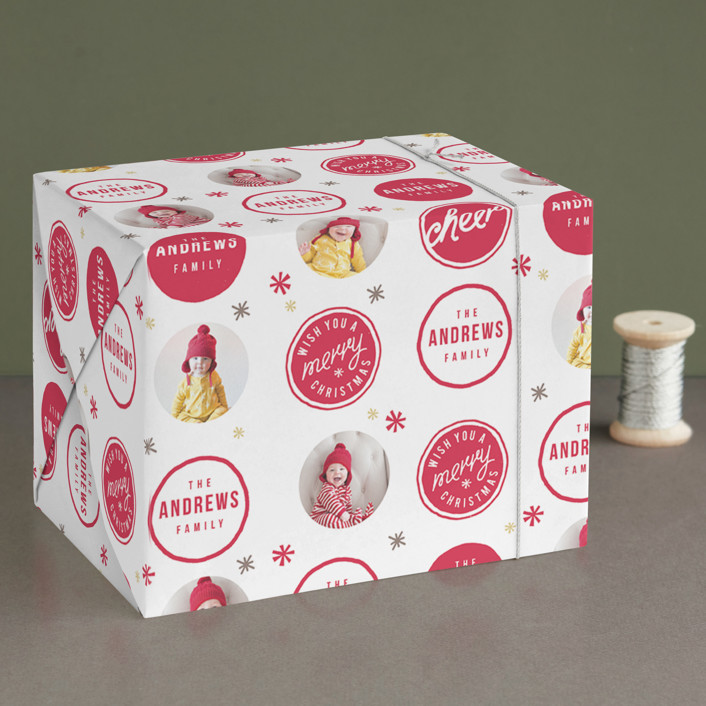 """""""A Merry Christmas"""" - Preppy Wrapping Paper in Berry by Lori Wemple."""