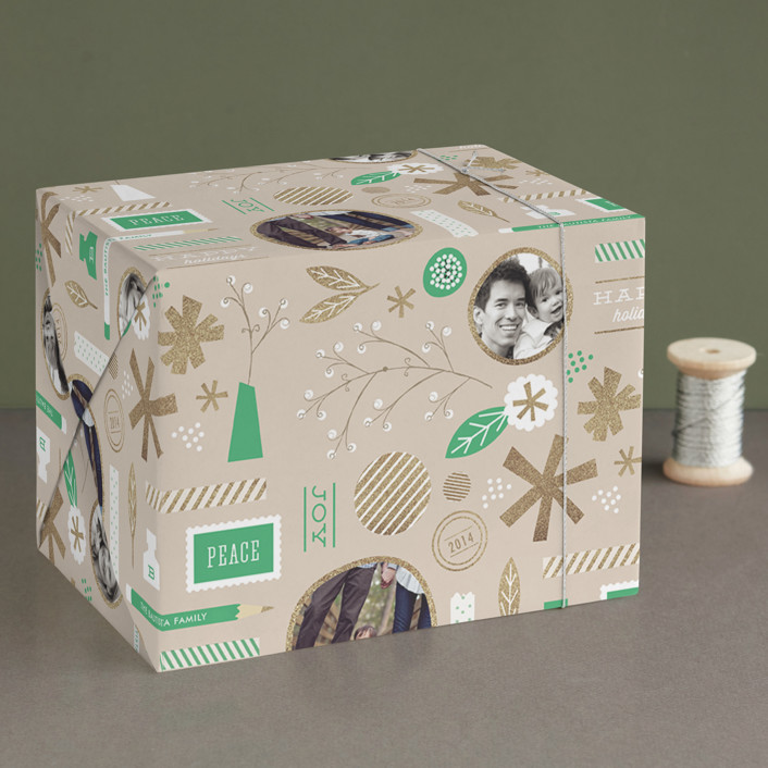 """""""Festive Greetings"""" - Wrapping Paper in Emerald by Frooted Design."""