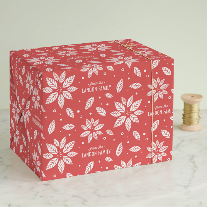 """Poinsettia"" - Wrapping Paper in Berry by lena barakat."