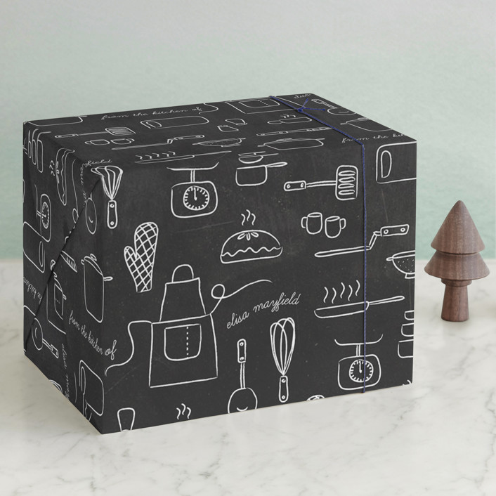 """Kitchen Tools"" - Wrapping Paper in Chalkboard by Heritage and Joy."