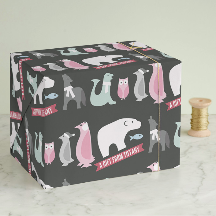 """Winter Friends"" - Wrapping Paper in Midnight by Jessie Steury."