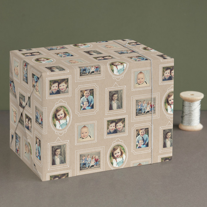 """Krafted Frames"" - Preppy Wrapping Paper in Kraft by leslie hamer."