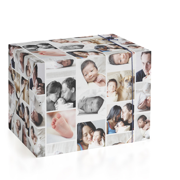 This is a white wrapping paper by leslie hamer called Photo Collage with standard printing on wrapping paper.
