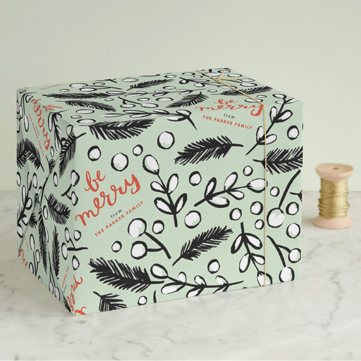 """""""Be Merry Branches"""" - Whimsical & Funny Wrapping Paper in Mint by Alethea and Ruth."""