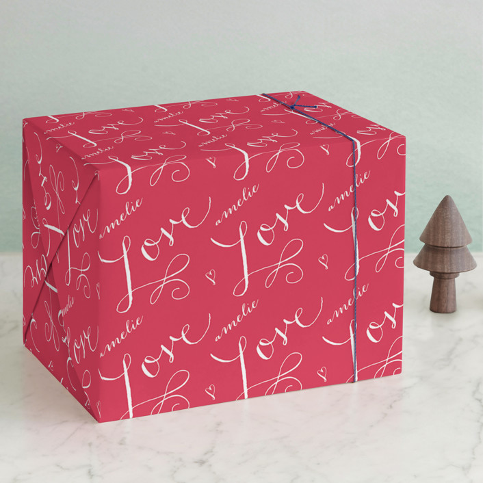 """Love Wrap"" - Wrapping Paper in Ruby by Lori Wemple."