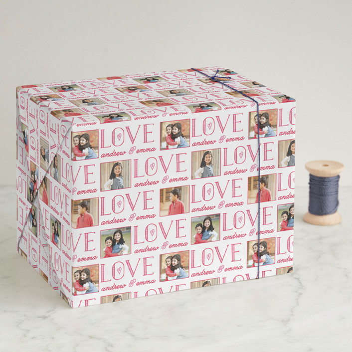 """Bold Love"" - Wrapping Paper in Rose by Christina Novak."