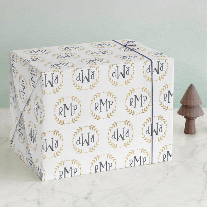 """Glittering Monogram"" - Wrapping Paper in Champagne by Erin Deegan."