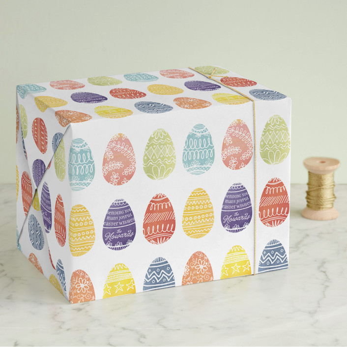"""""""Painted Eggs"""" - Wrapping Paper in Cherry by 2birdstone."""