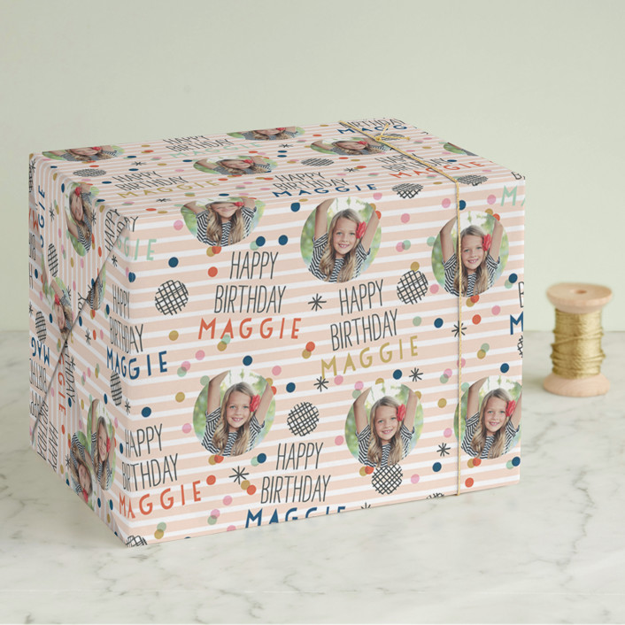 """Confetti Stripes"" - Wrapping Paper in Peach by Alethea and Ruth."