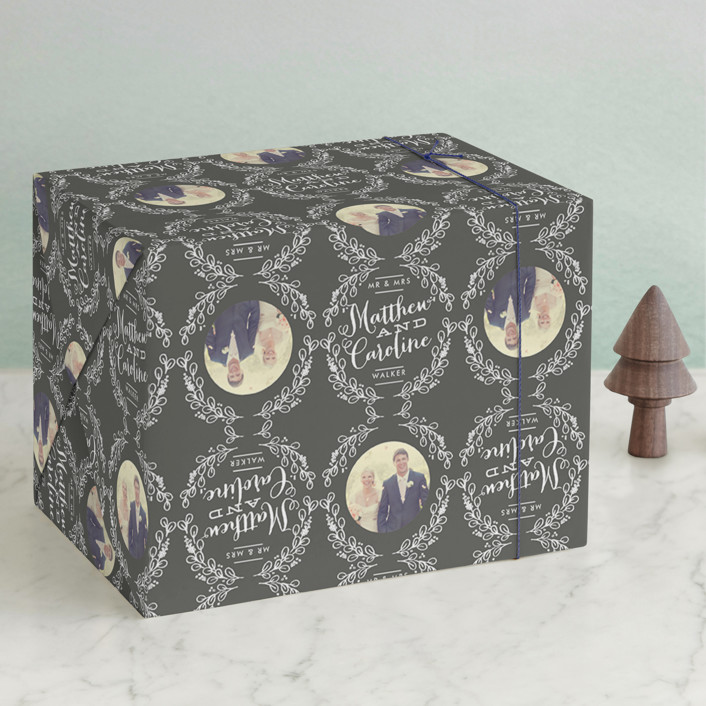 """Chalkboard Wreath"" - Wrapping Paper in Charcoal by Alethea and Ruth."