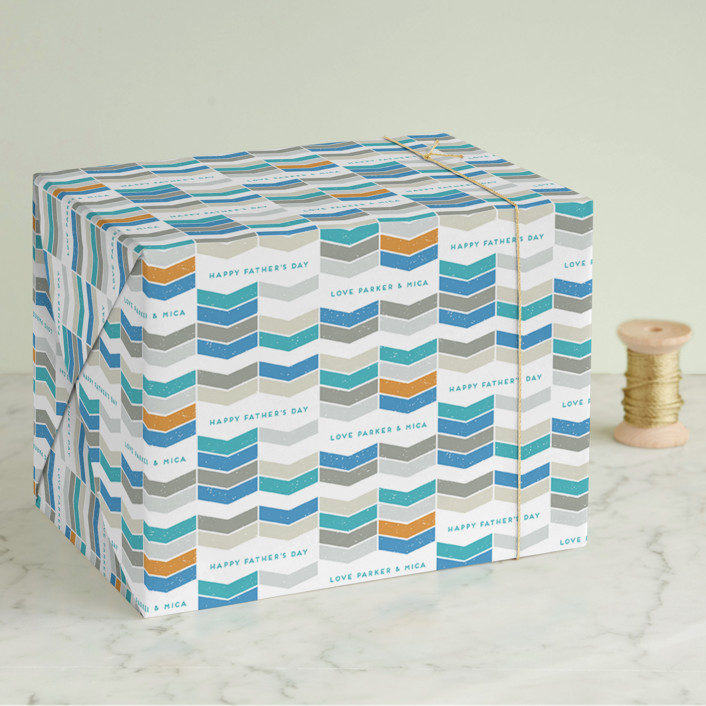 """Weathered Chevron"" - Wrapping Paper in Aqua by Lori Wemple."