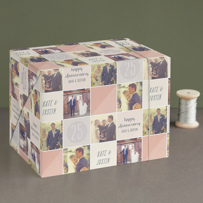 """Anniversary Photo Grid"" - Wrapping Paper in Peach by Hooray Creative."