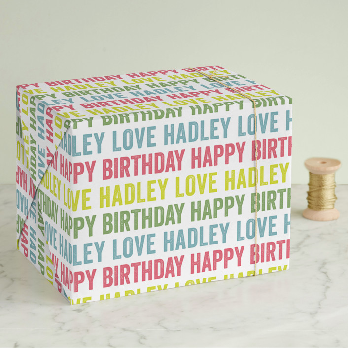 """Colorful Birthday"" - Modern Wrapping Paper in Sour Apple by Lauren Chism."