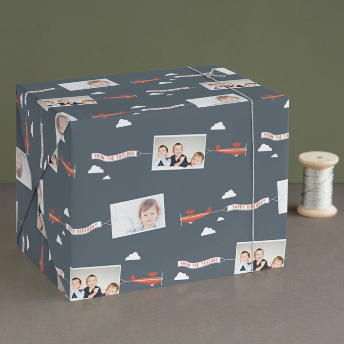 """In Flight"" - Whimsical & Funny Wrapping Paper in Navy by R studio."