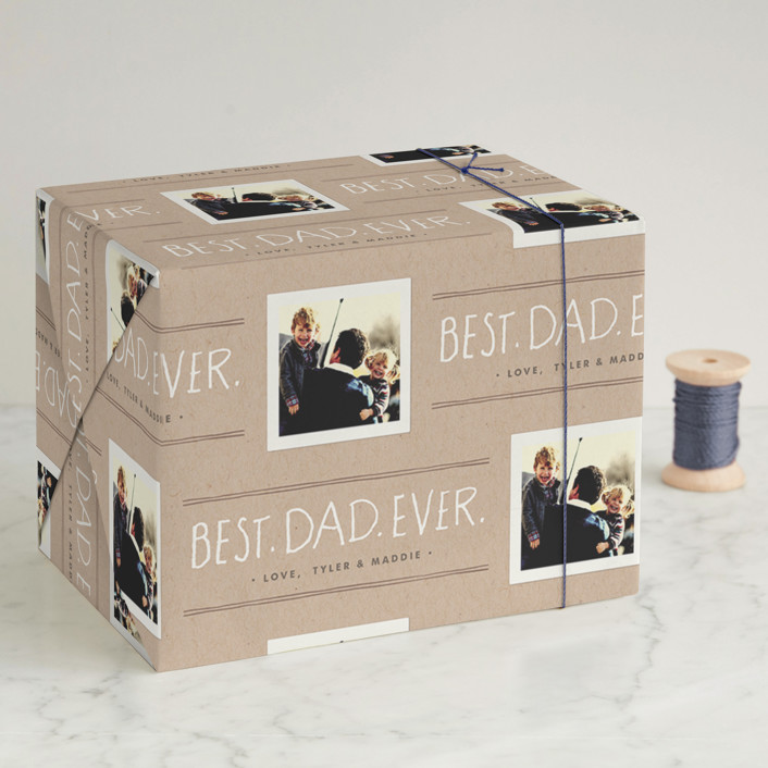 """""""Best Dad Ever"""" - Bold typographic Wrapping Paper in Kraft by Jennifer Wick."""