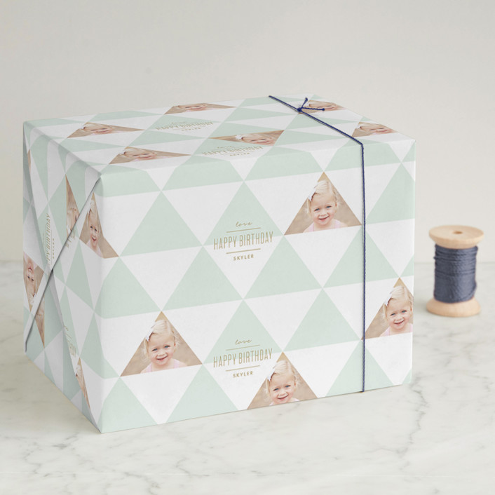 """""""Geo-Minimal"""" - Wrapping Paper in Mint by Lauren Chism."""