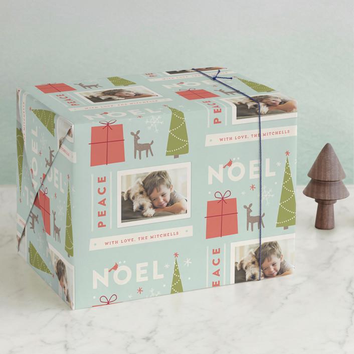 """""""Retro Noel"""" - Wrapping Paper in Frost by Jennifer Wick."""