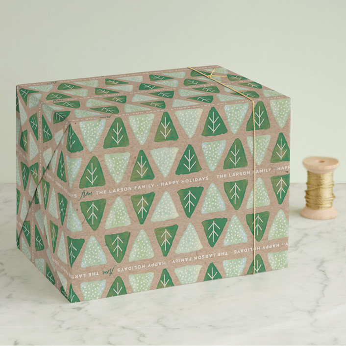"""""""Evergreen Forest"""" - Wrapping Paper in Kraft by Melanie Severin."""