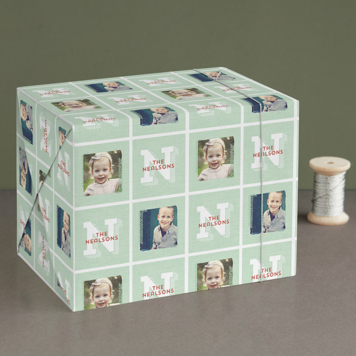 """""""Rustic Monogram"""" - Wrapping Paper in Mint by Keen Peachy."""