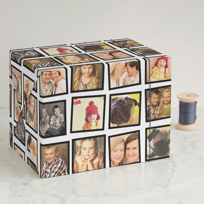"""""""Cool Collage"""" - Modern, Preppy Wrapping Paper in Kraft by Up Up Creative."""