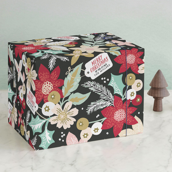 """Holiday Bouquet"" - Wrapping Paper in Midnight by Alethea and Ruth."