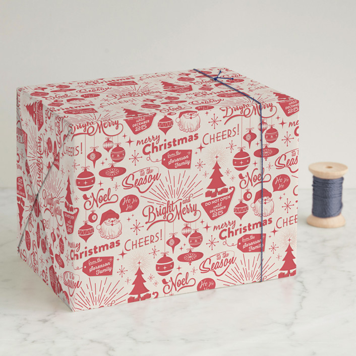 """""""Christmas Time"""" - Wrapping Paper in Ruby by GeekInk Design."""