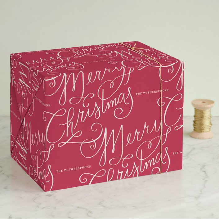 """Merry Calligraphy"" - Wrapping Paper in Berry by Lori Wemple."