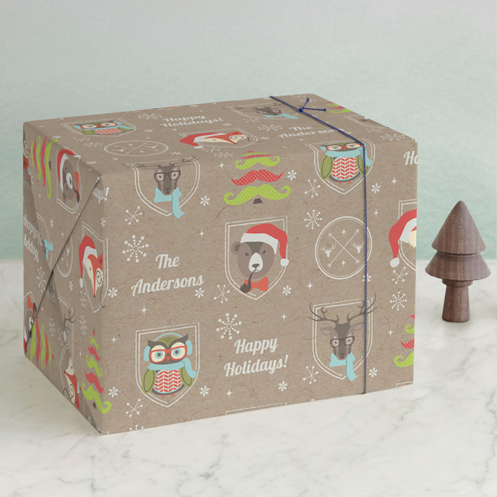 """""""Happy Hipster Holiday"""" - Whimsical & Funny Wrapping Paper in Kraft by Jennifer Morehead."""