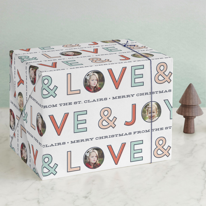 """Bold Type"" - Bold typographic Wrapping Paper in Peppermint by Laura Hankins."