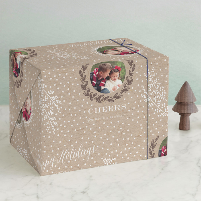 """""""Snowy Branches"""" - Preppy, Whimsical & Funny Wrapping Paper in Kraft by Sarah Curry."""