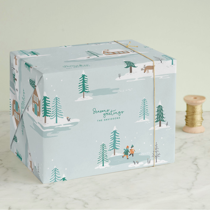 """WinterLand"" - Wrapping Paper in Aqua by Sharon O.."