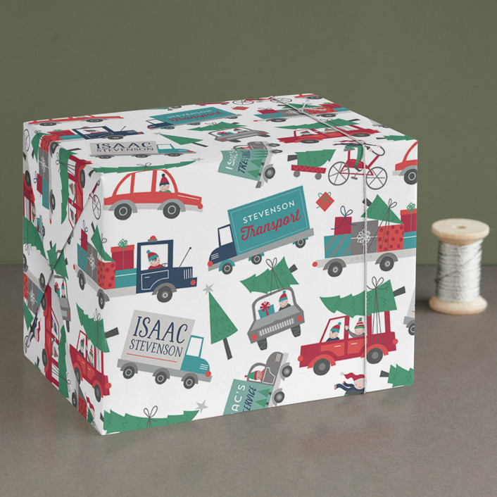 """Christmas Pick Me Up"" - Whimsical & Funny Wrapping Paper in Snow by Danielle Hartgers."