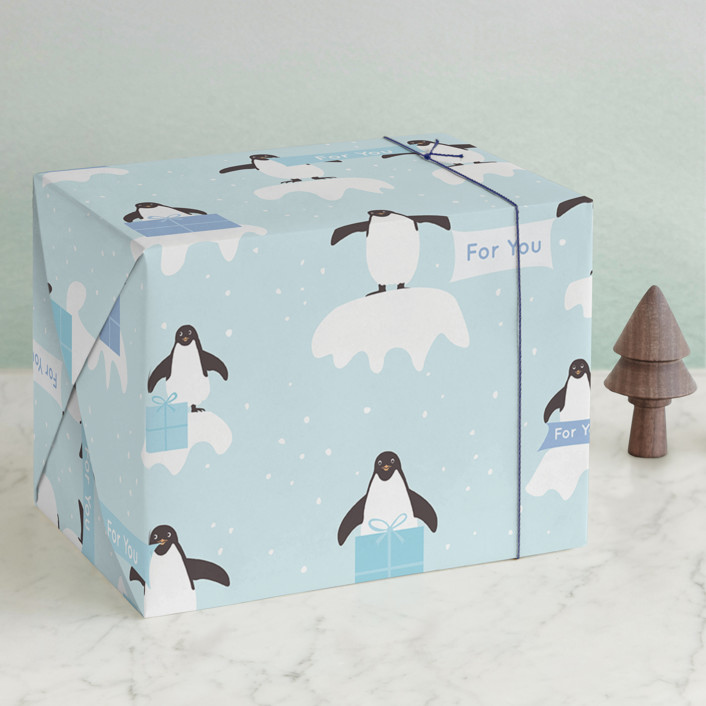"""Presents from Penguins"" - Wrapping Paper in Sky by Jennifer Holbrook."