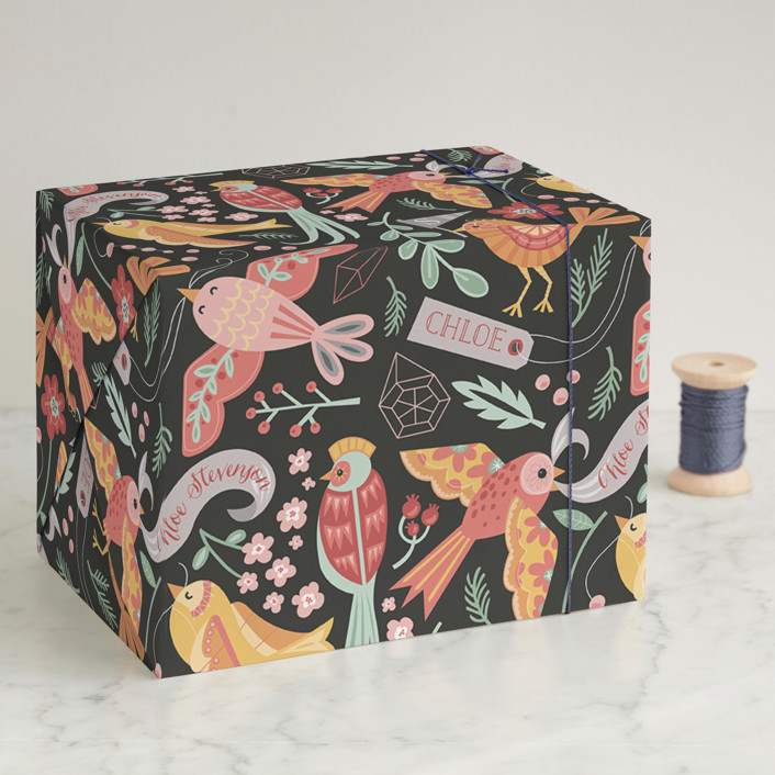 """""""Birds and Baubles"""" - Whimsical & Funny Wrapping Paper in Pumpkin by Danielle Hartgers."""