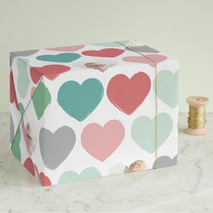 """""""Painted Hearts"""" - Modern Wrapping Paper in Gum Drops by Jessie Steury."""