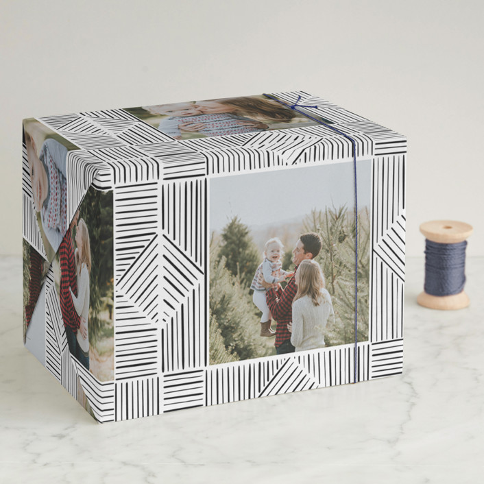 """line doodle photo frames"" - Modern Wrapping Paper in Onyx by Leanne Friedberg."