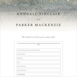 This is a beige digital wedding address collection card by Wildfield Paper Co. called OCEANS printing on digital paper.