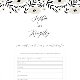 This is a white digital wedding address collection card by Design Lotus called Nothing Compares To You printing on digital paper.