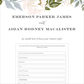 This is a blue digital wedding address collection card by Alethea and Ruth called Peony Floral Frame printing on digital paper.