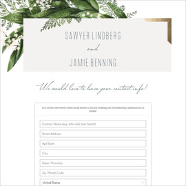 This is a green digital wedding address collection card by Leah Bisch called Diamante printing on digital paper.