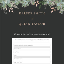 This is a black digital wedding address collection card by Susan Moyal called Succulent Surround printing on digital paper.