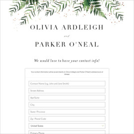 This is a pink digital wedding address collection card by Kristie Kern called Framed in Ferns printing on digital paper.