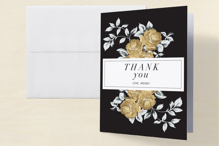 """""""All That Glitters Is Glam"""" - Vintage, Floral & Botanical Bachelorette Party Thank You Cards in Gold by Kali."""
