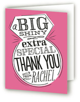 This is a pink wedding thank you card by Jessie Steury called Ringing & Writing with standard printing on strathmore in standard.